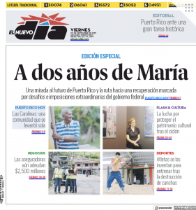 "El Nuevo Día's front page on Sept. 20, 2019. The headline reads ""Two years after María: A look toward the future of Puerto Rico and a route marked by extreme obstacles from the federal government."""